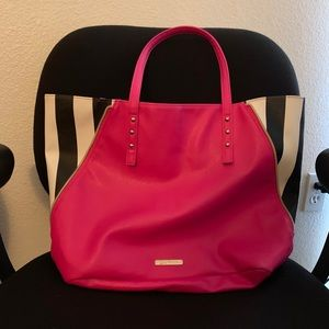Juicy Couture Pink, Black, and White striped tote.